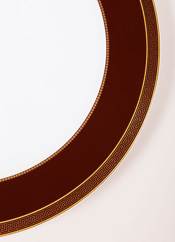 "Versace Rosenthal Brown ""Medaillon Meandre Marron"" 12 inch Service Plate Detail"
