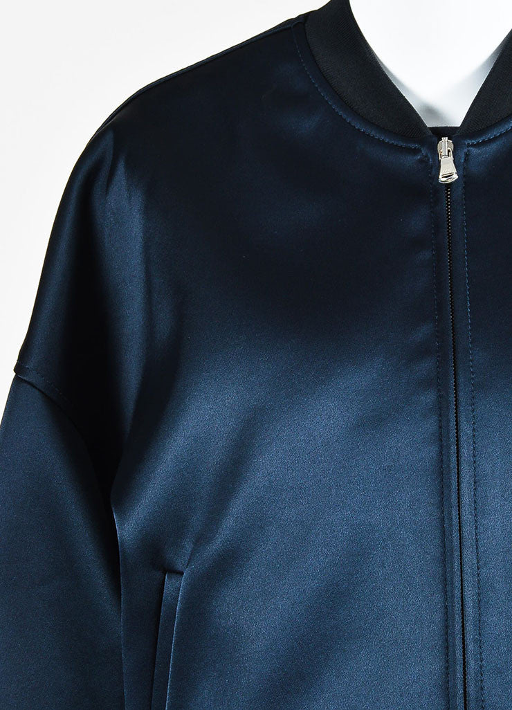 3.1 Phillip Navy Satin Double Layered Bomber Coat and Vest Detail