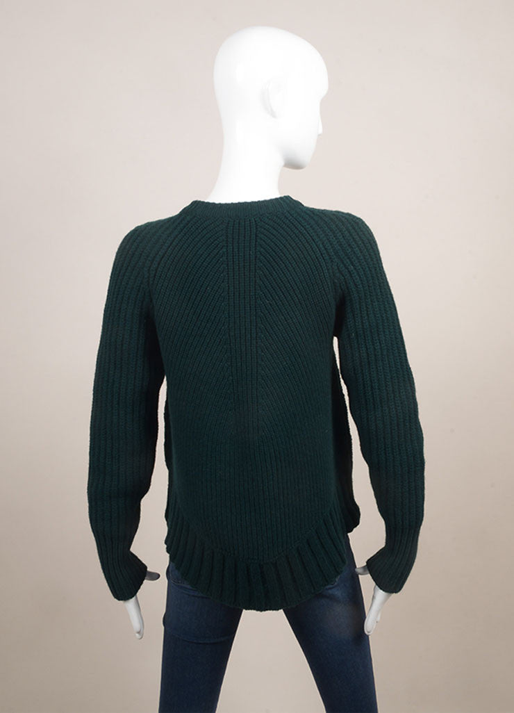 Alexander McQueen New With Tags Forest Green Wool and Cashmere Chunky Knit Sweater  Backview