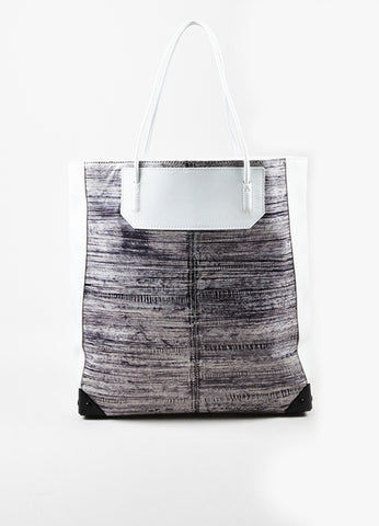 "Alexander Wang White and Grey Painted Eel Leather ""Prisma"" Tote Bag Frontview"
