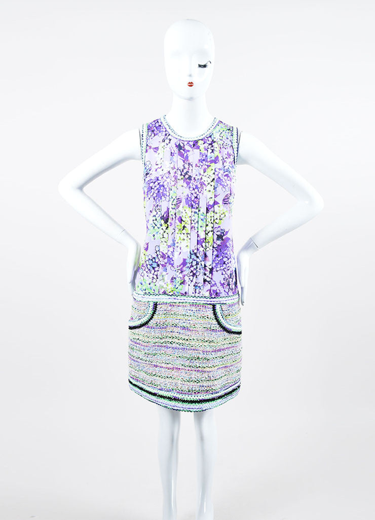 """Lilac"" Purple and Lime Green Andrew Gn Floral Print and Woven Dress Frontview"