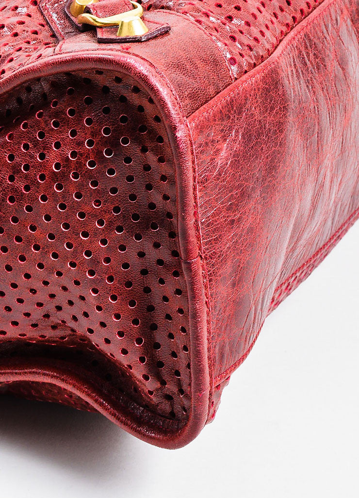 "Maroon Red Balenciaga Perforated Lambskin Leather ""Classic City"" Satchel Bag Detail"