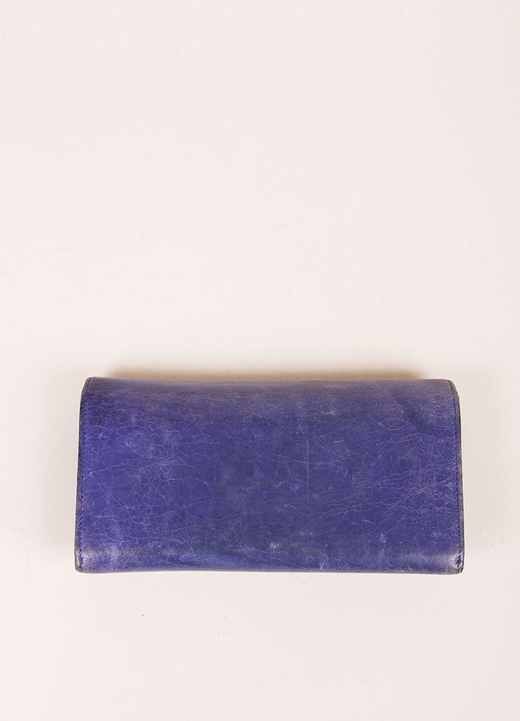 Balenciaga Purple Distressed Leather Studded Wallet Backview