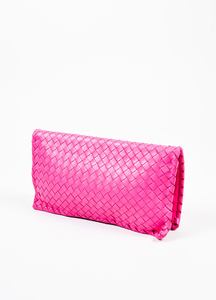 "Bottega Veneta Hot Pink ""Intrecciato"" Nappa Leather Turn Lock Clutch Bag Backview"