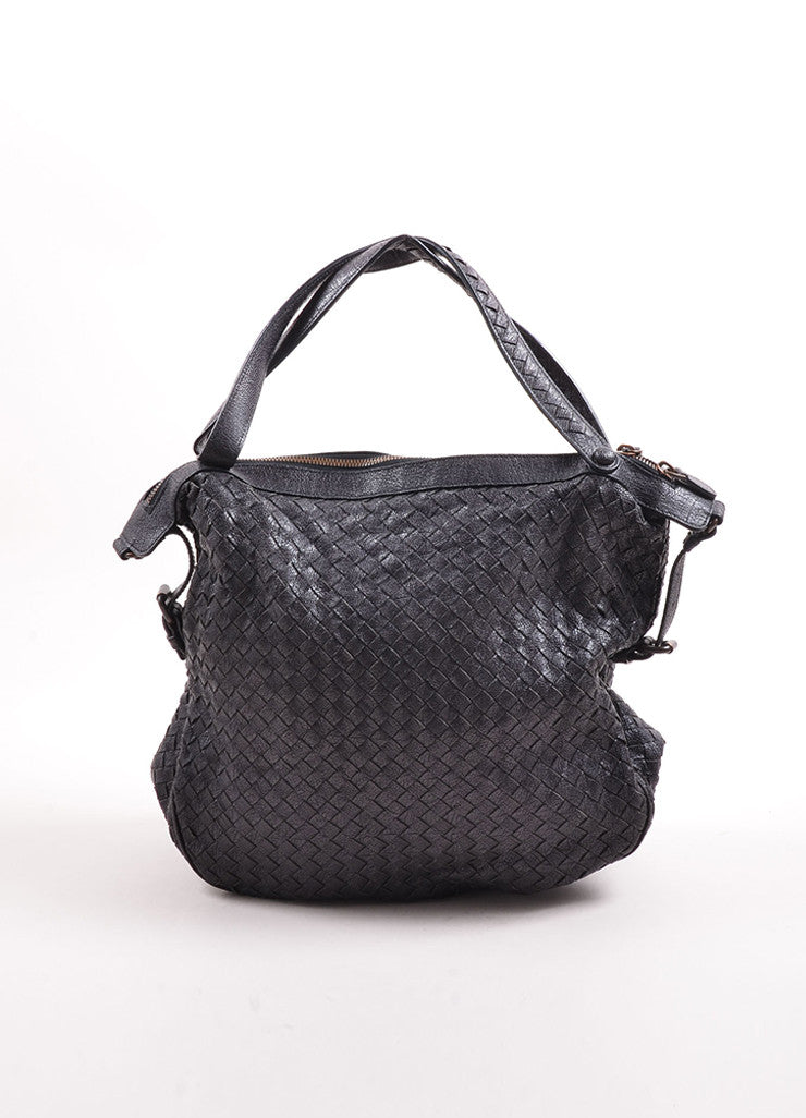 Bottega Veneta Black Woven Leather Square Tote Bag Front