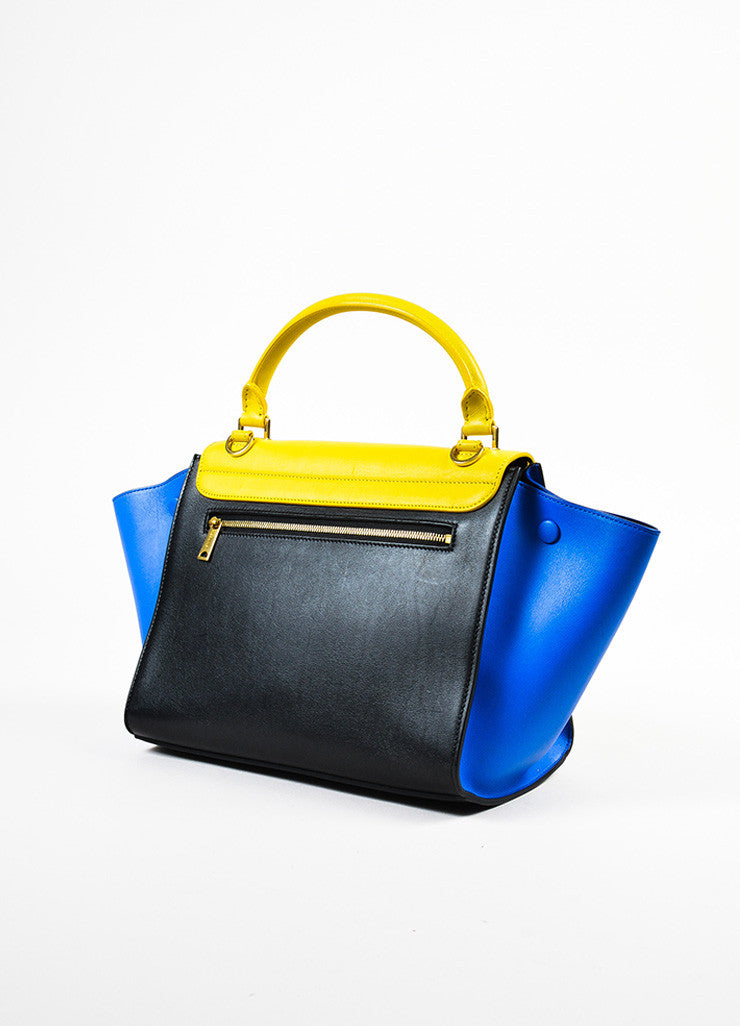 Celine Sunflower Yellow Black Blue Calfskin Leather Small Trapeze Bag Back