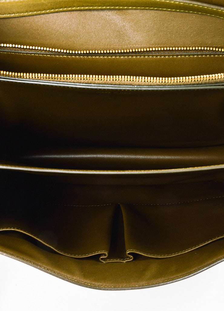 "Celine Olive Green Leather ""Large Box"" Shoulder Bag Interior"
