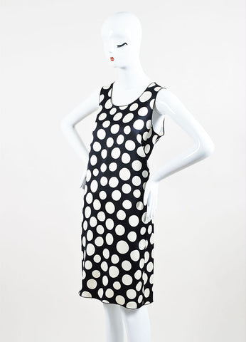 Celine Black and Cream Silk and Wool Blend Polka Dot Print Sleeveless Shift Dress Sideview