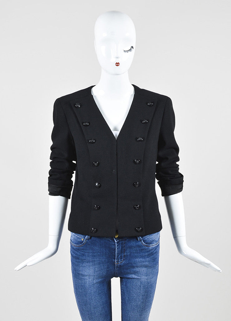 Black Chanel Wool Military Style Structured Cropped Blazer Jacket Frontview 2
