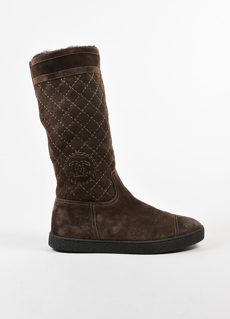 Chanel Brown Shearling Lined Quilted 'CC' Logo Winter Boots Sideview