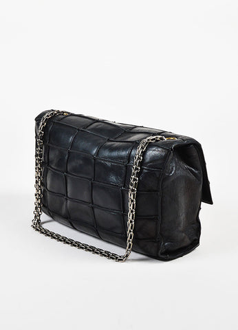 "Chanel Black Leather ""Patchwork Mademoiselle"" Chain Shoulder Bag Sideview"