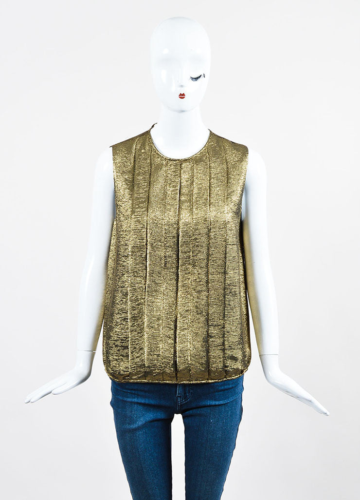 Black and Metallic Gold Chanel Pleated Elastic Hem Sleeveless Blouse Top Frontview