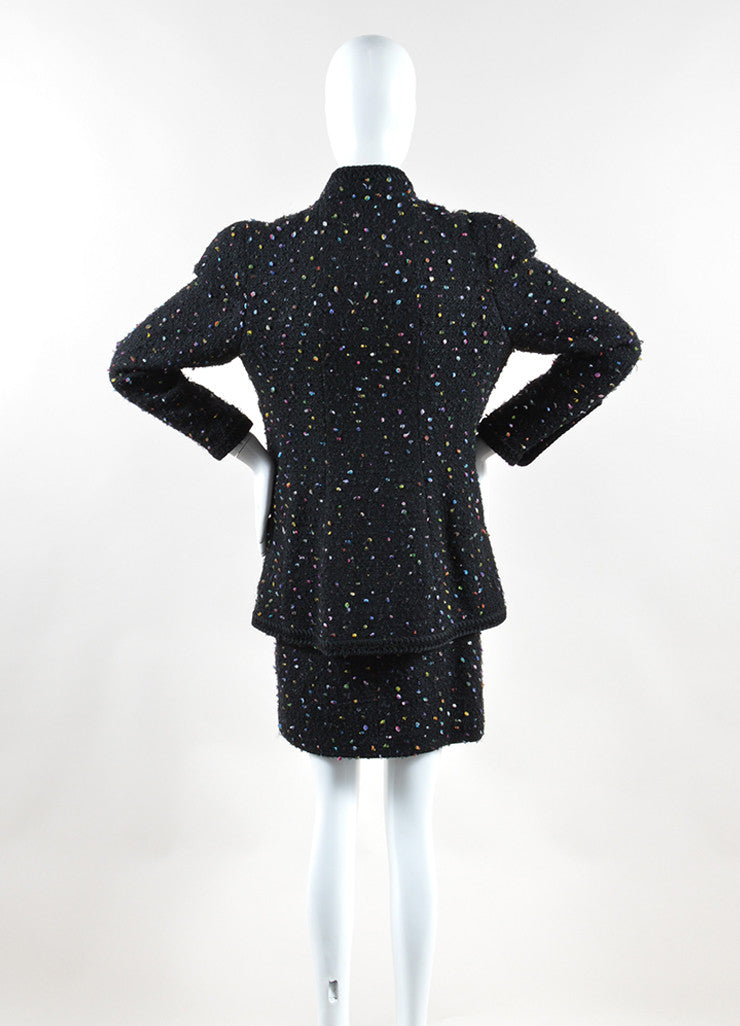 Chanel Black and Multicolor Speckled Tweed Jacket Pencil Skirt Suit Backview