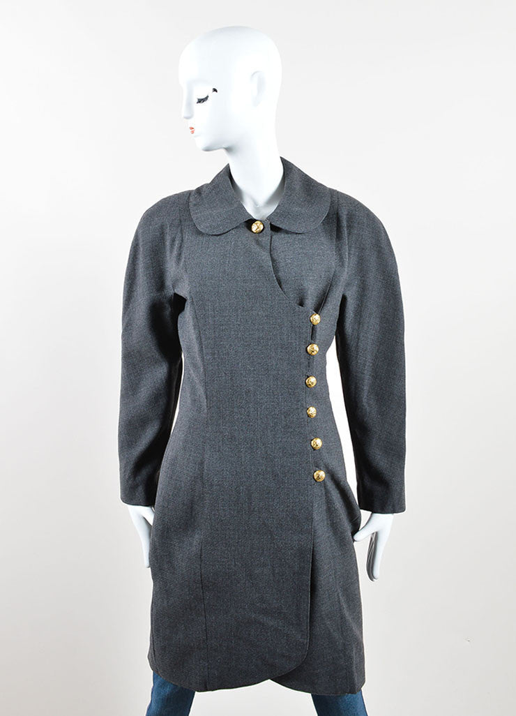 "Chanel Grey and Gold Toned Wool ""CC"" Button Wrap Knee Length Jacket Frontview"
