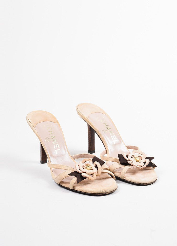 Chanel Light Beige, Brown, and Gold Suede Camellia Flower Slide Sandals Frontview