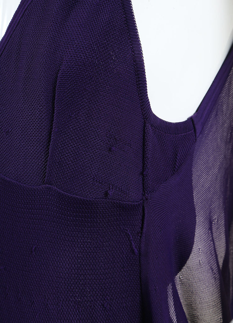 Chanel Purple Woven Knit Ruffle Draped Full Length Halter Dress Detail
