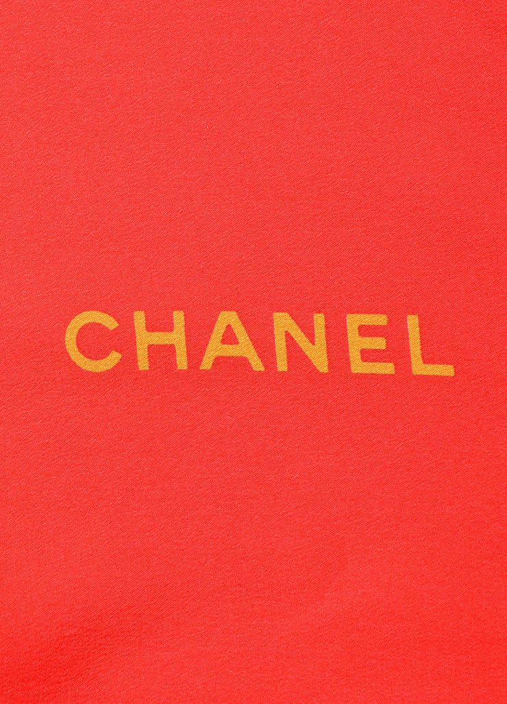 Chanel Red Black Gold Silk Jewel Print 'CC' Logo Scarf Brand