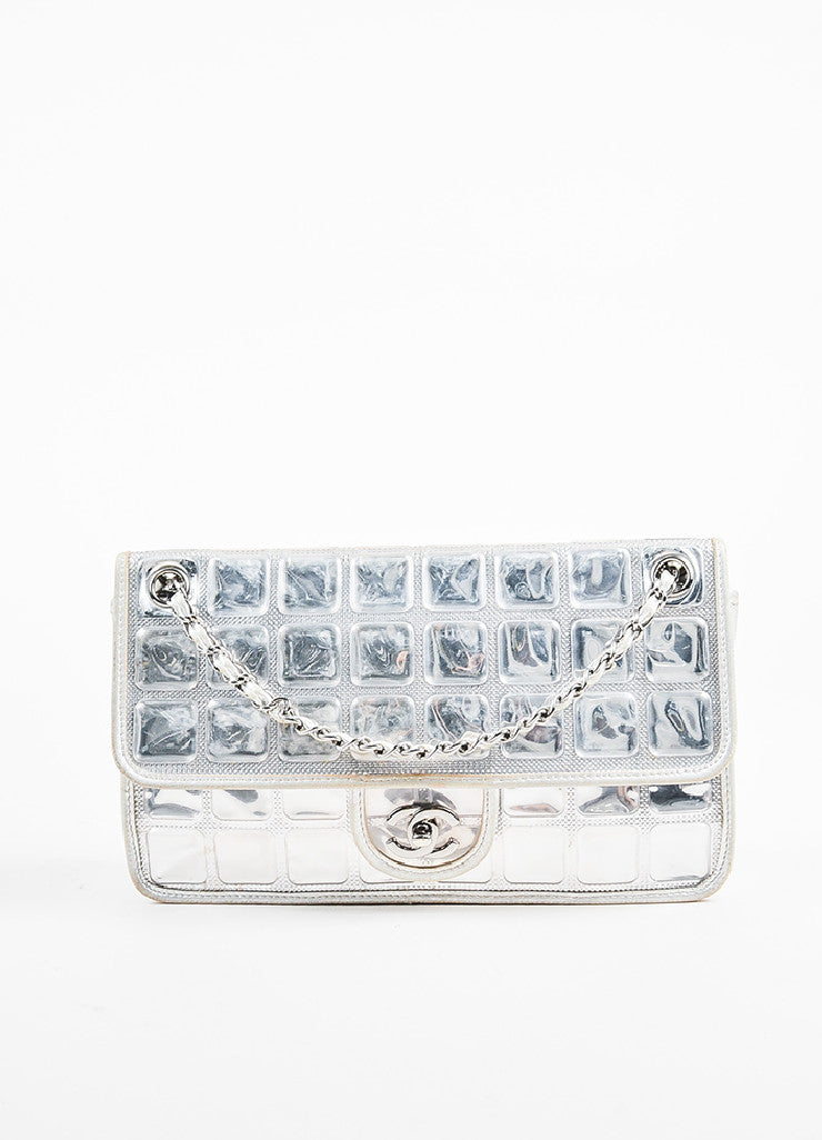 "Chanel Silver Metallic Leather Coated ""Ice Cube"" Classic Flap Shoulder Bag Frontview"
