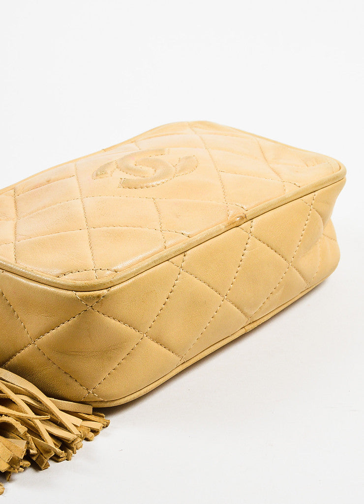 Chanel Tan Gold Tone Lambskin Leather Quilted 'CC' Tassel Shoulder Bag Bottom View