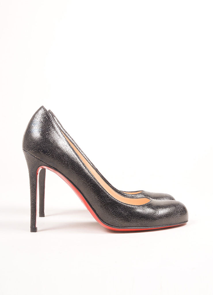 Christian Loubouin Black Crackle Leather Round Toe Pumps Sideview