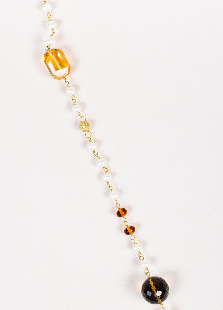 "David Yurman 18K Gold Pearl Citrine Smoky Quartz ""Potpourri"" Necklace Detail"