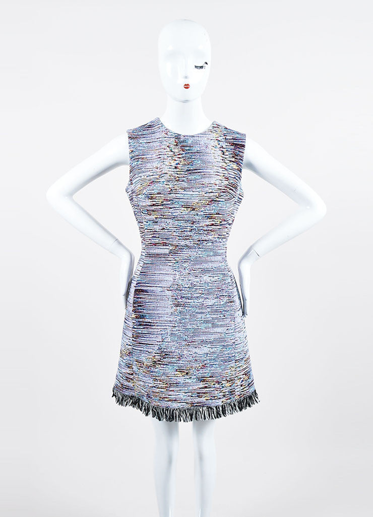 Multicolor Christian Dior Woven Tweed Fringe Sleeveless Dress Frontview