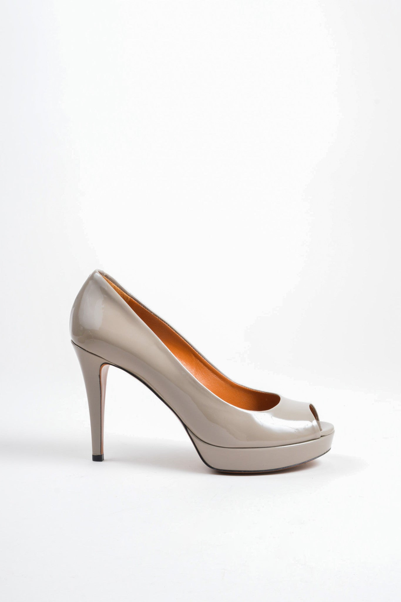 Grey Gucci Patent Leather Platform Peep Toe Pumps Sideview