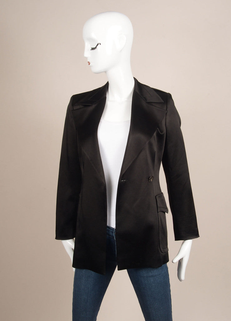 Gucci Black Satin Longline Jacket and Straight Leg Trouser Pant Suit Jacket