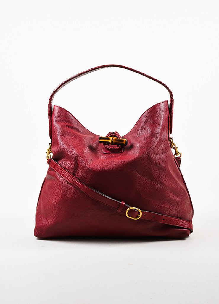 "Gucci Red Leather ""Hip"" Oversized Braided Handle Hobo Bag Frontview"