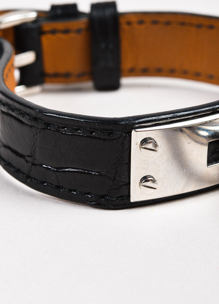 "Hermes Black Alligator Leather Quartz and Stainless Steel Padlock ""Kelly"" Watch Detail 3"