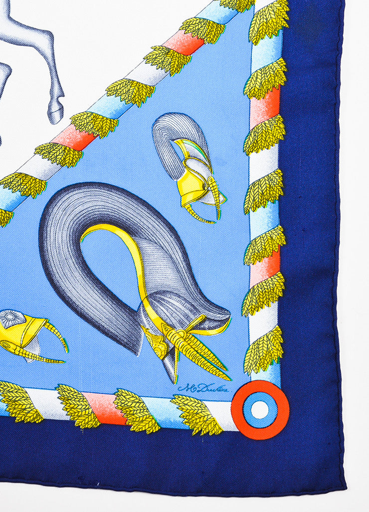 "Hermes Blue and Multicolor Silk ""L'Armee Imperiale Russe"" Printed 90cm Square Scarf Detail"