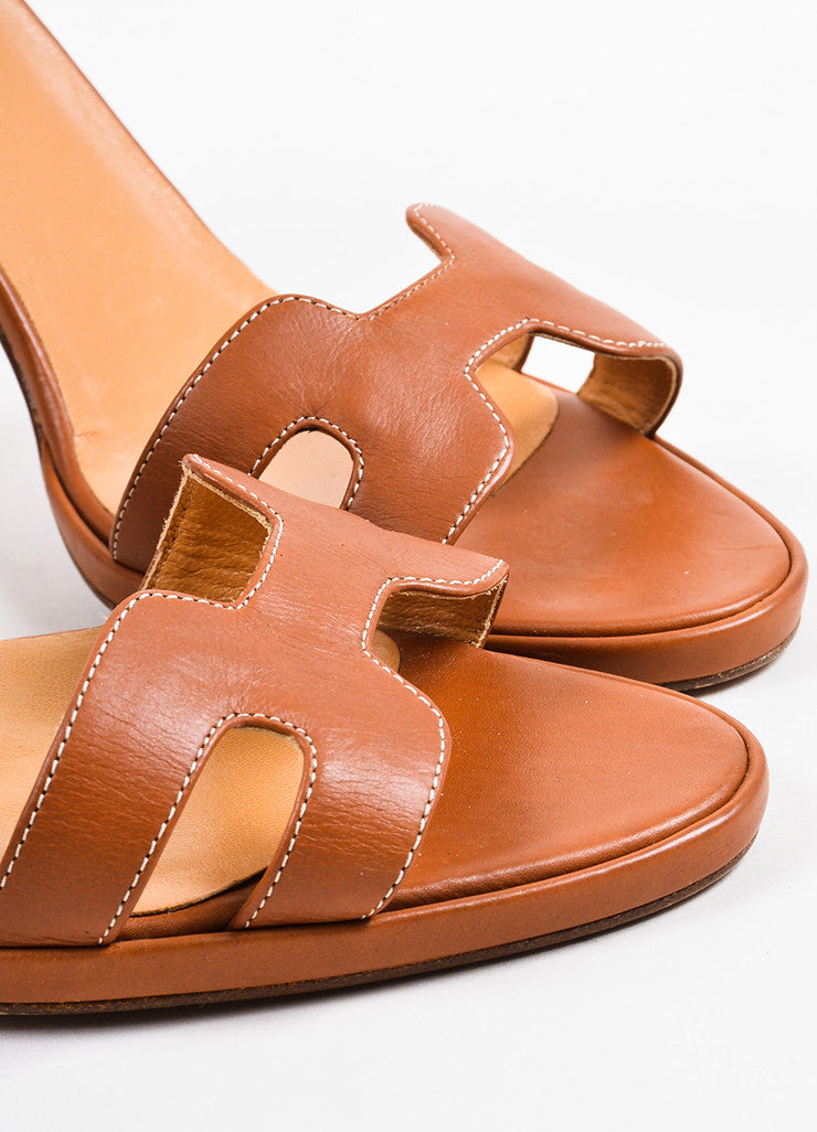 "Hermes Cognac Leather ""H"" Ankle Strap Sandal Heels Detail"