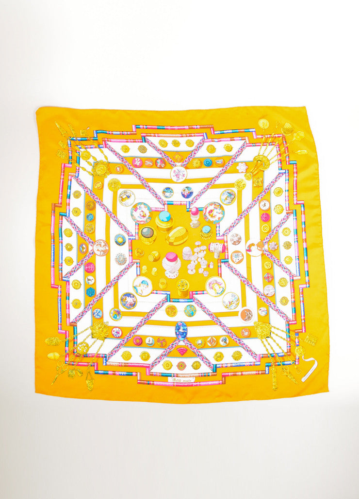 "Hermes Yellow and Multicolor Silk Graphic Print ""Petite Main"" Scarf Frontview"