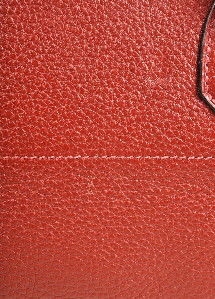 "Hermes Red ""Rouge H"" and Silver Toned Clemence Leather 42cm Shoulder Birkin Bag Detail 5"
