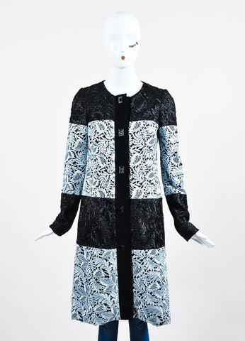 Black and Light Blue J. Mendel  Suede Lace Overlay Long Coat Frontview 2