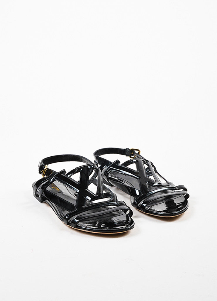 Louis Vuitton Black Patent Leather 'LV' Strappy Slingback Flat Sandals Frontview