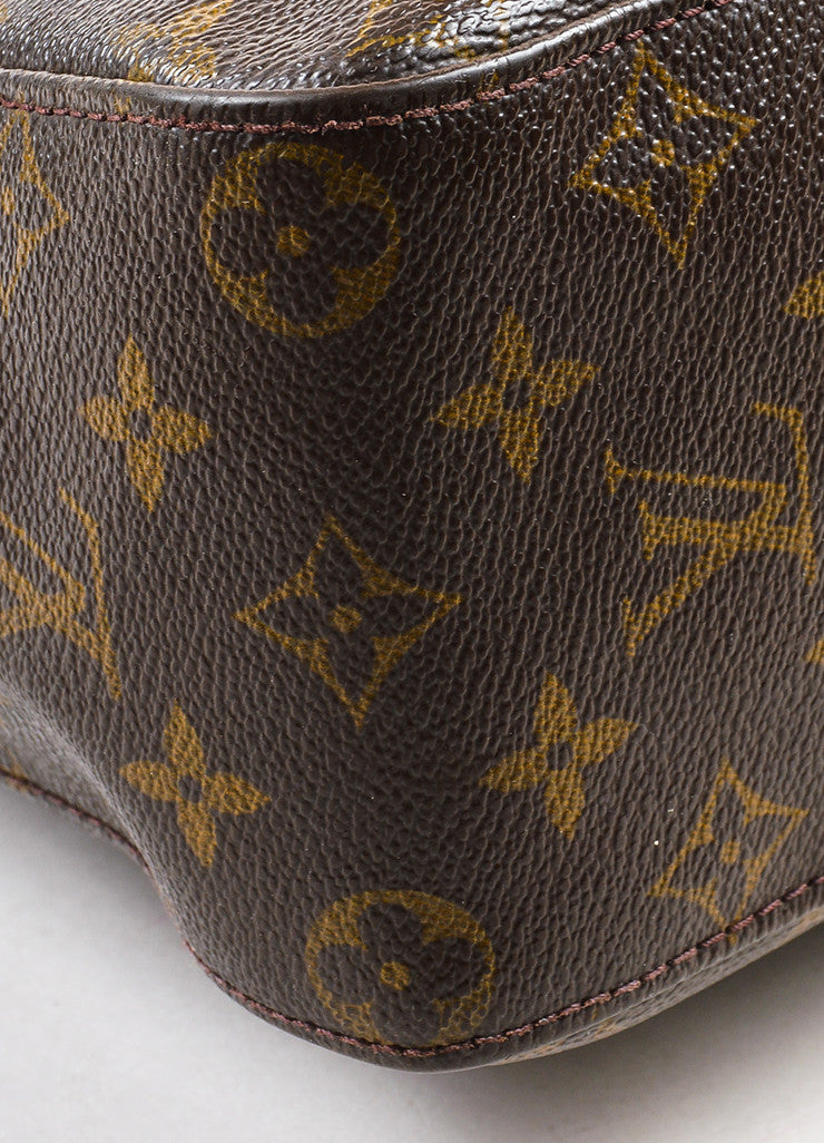 "Louis Vuitton Brown and Tan Coated Canvas Leather Monogrammed ""Looping GM"" Tote Bag Detail"