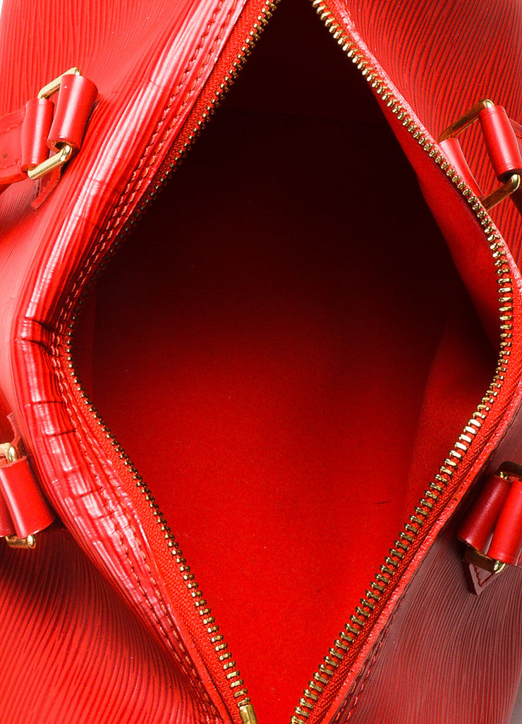 "Louis Vuitton Red Epi Leather ""Speedy 25"" Handbag Interior"