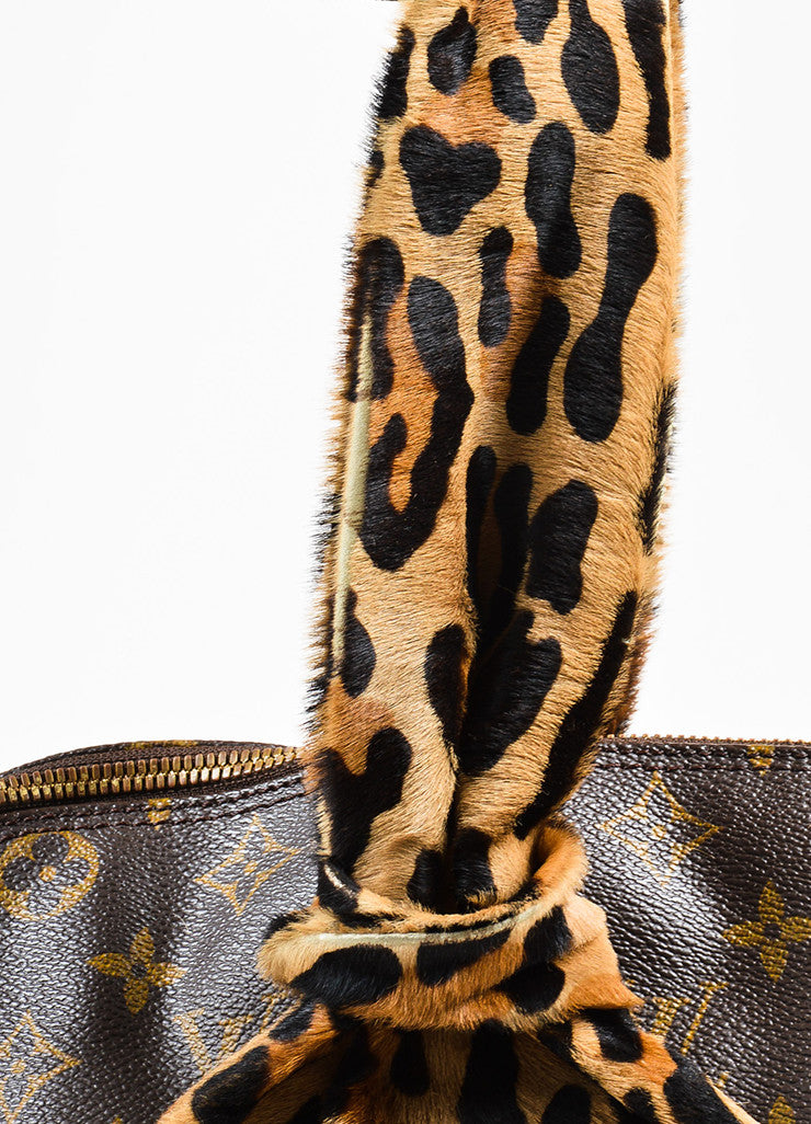 "¥éËLouis Vuitton x Azzedine Alaia Brown Coated Canvas Leopard Pony Hair ""Alma"" Bag Detail 2"