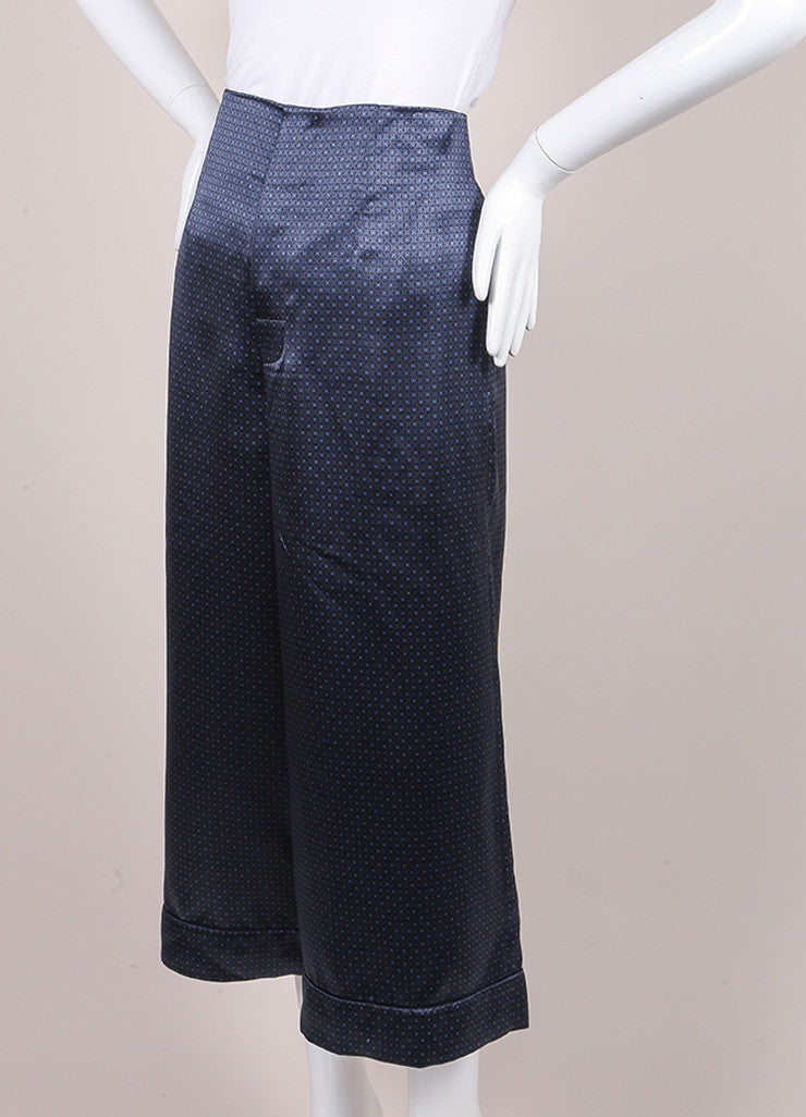 Marc Jacobs New With Tags Navy Blue Silk Printed Crop Gaucho Culotte Pants Sideview