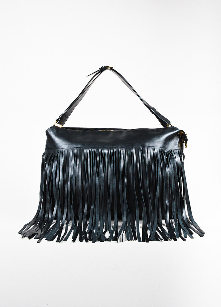 Miu Miu Black Leather Fringe Gold Hardware Shoulder Bag Front