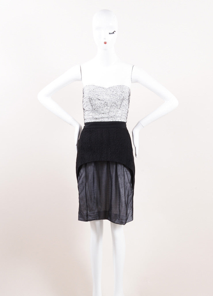 Narciso Rodriguez Black and White Silk Strapless Dress Frontview