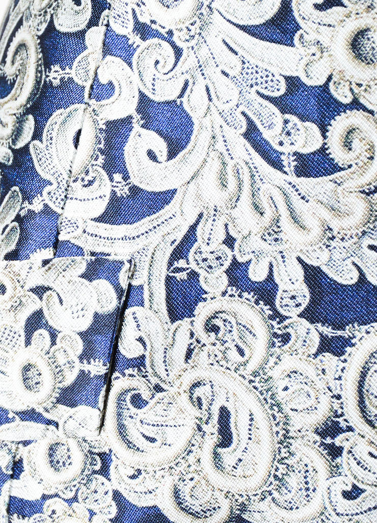 "Midnight Navy Oscar de la Renta Silk and Cotton Lace Print ""Guipure"" Dress Detail"