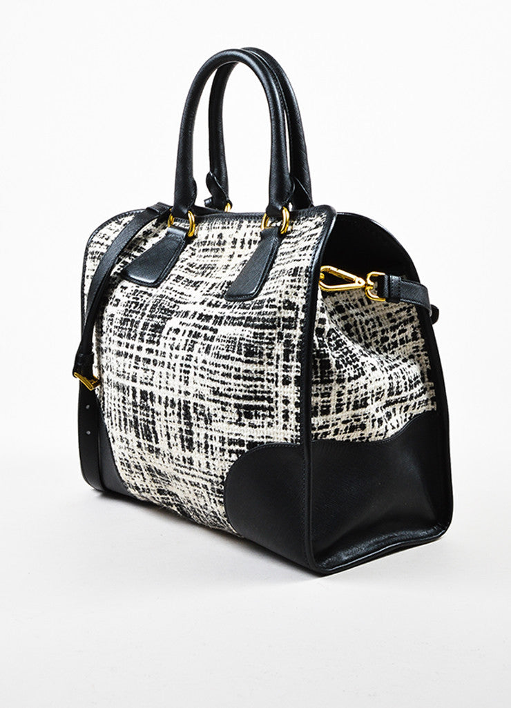 "Prada Black and Cream Tweed Saffiano Leather Trim ""North South"" Tote Bag Sideview"