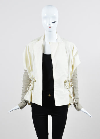 Cream and Taupe Rick Owens Mixed Media Leather Detail Lightweight Jacket Frontview