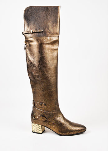Roberto Cavalli Bronze Leather Block Heel Over The Knee Boots Sideview