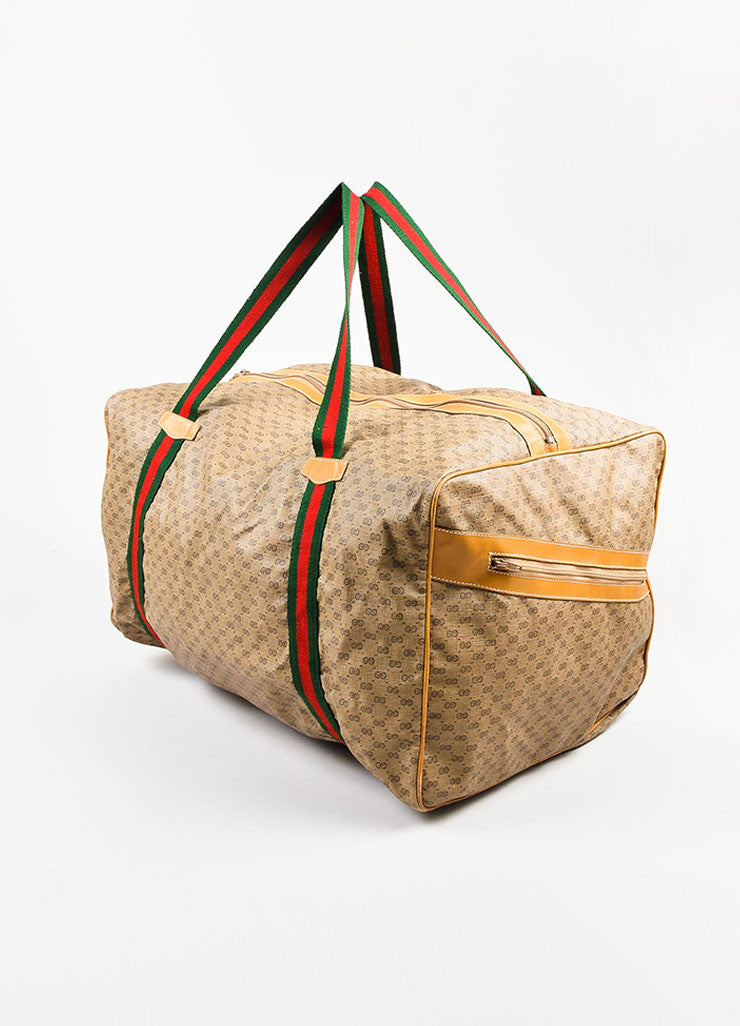 Gucci Brown Coated Canvas Leather Trim 'GG' Monogram Striped Duffel Bag Sideview