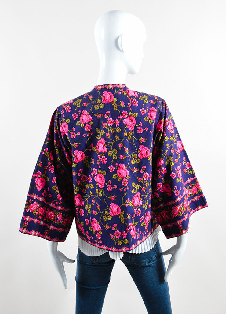 Lanvin Navy and Pink Rose Print Kimono Jacket Backview