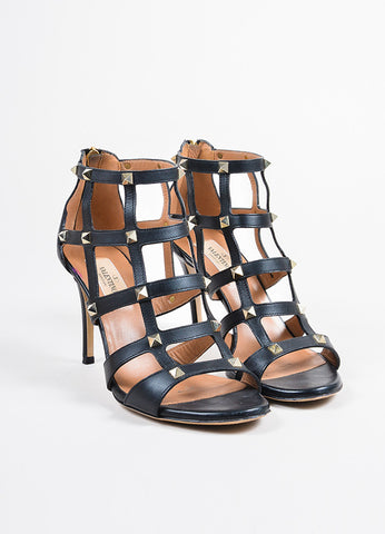 "Valentino Black Leather Gold Toned Stud Caged High Heel ""Rockstud"" Sandals Frontview"