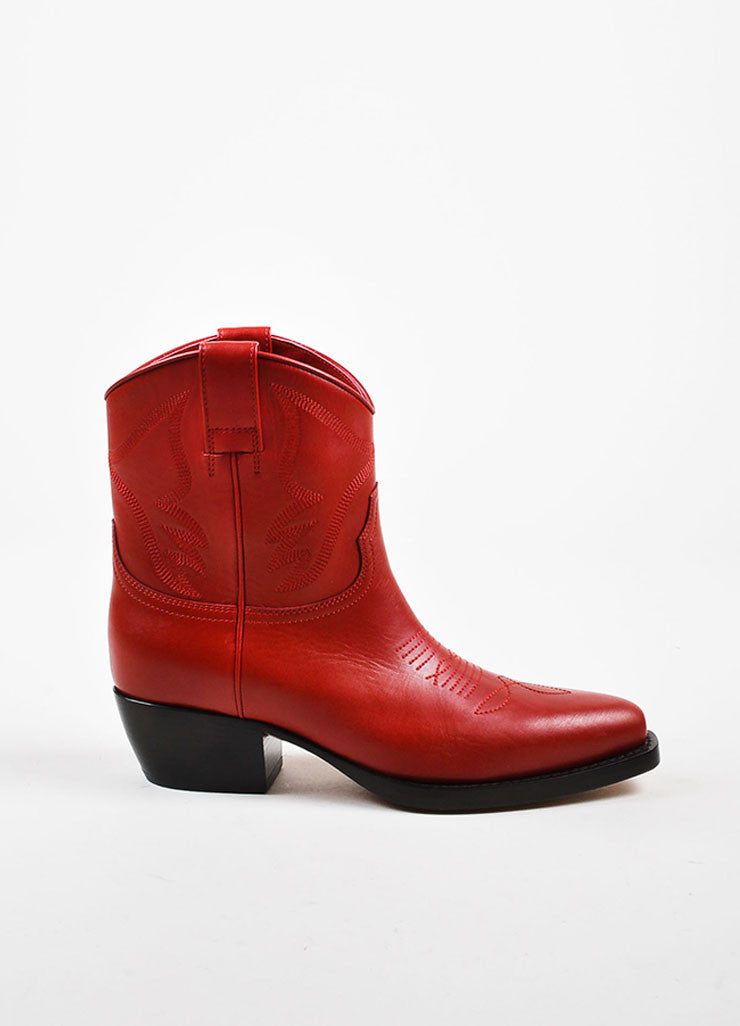 Red Leather Valentino Top Stitch Western Pointed Booties Side